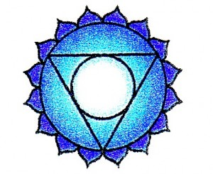 "Throat chakra with 16 ""petals."""