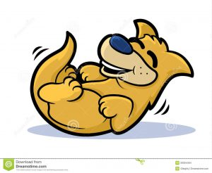 Cartoon dog rolling with alughter.