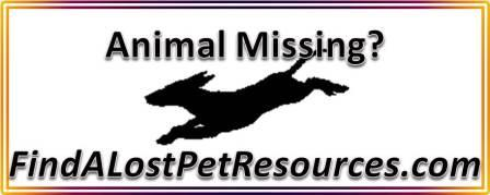 Animal missing?  FindALostPetResources.com can help.